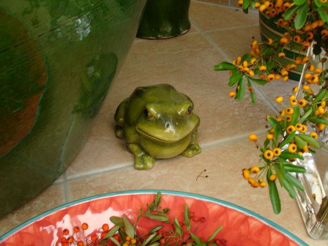 Grenouille en poterie vernie