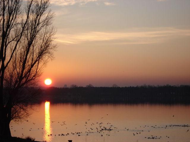 Coucher de soleil sur le lac de Bordeaux