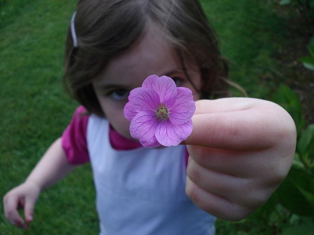 Petite fille offrant une fleur